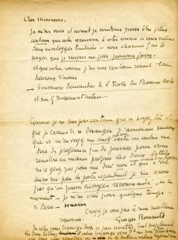 """Georges Rouault writes regarding """"The souvenirs you requested regarding the Ecole des Beaux-Arts and on G[ustave] Moreau and others..."""" Georges Rouault."""