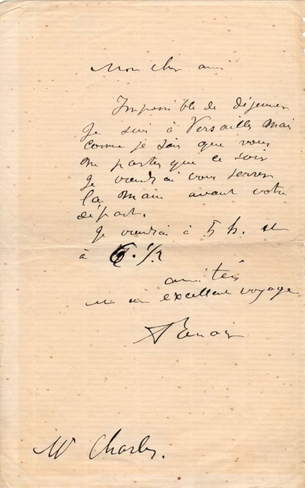 Renoir Writes to the Real Life Subject of one of his most Famous Paintings. Auguste Renoir.