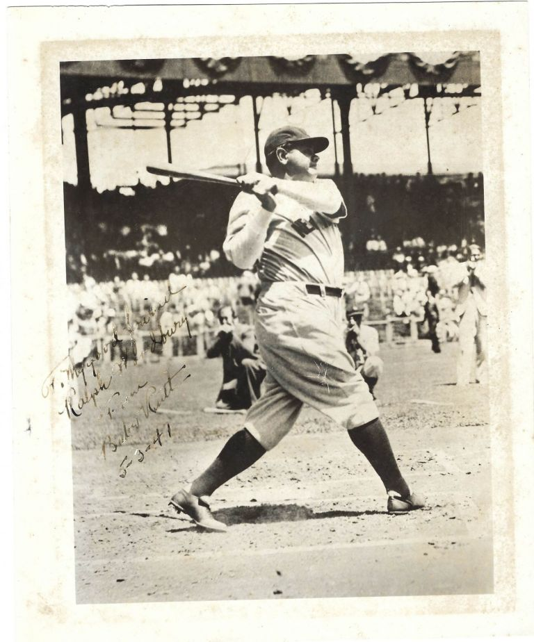 Babe Ruth Takes a Mighty Swing at the Plate -- Signed Photo. Babe Ruth.