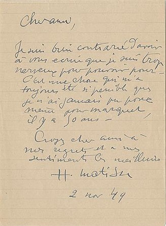 Henri Matisse's Handwritten Response to a Request to Pose for a Painting. Henri Matisse.