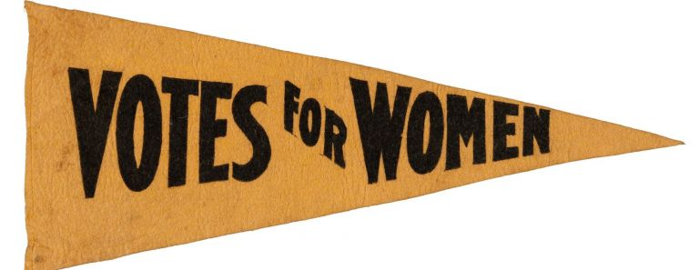 """Women's Suffrage Yellow Felt Pennant """"Votes for Women"""" SUFFRAGE Pennant, """"Votes for Women"""""""