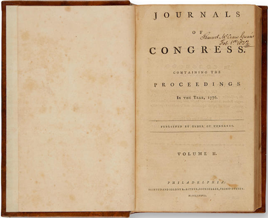 Journals of Congress, Containing the Proceedings in the Year 1776 The Declaration of Independence. CONTINENTAL, CONGRESS.