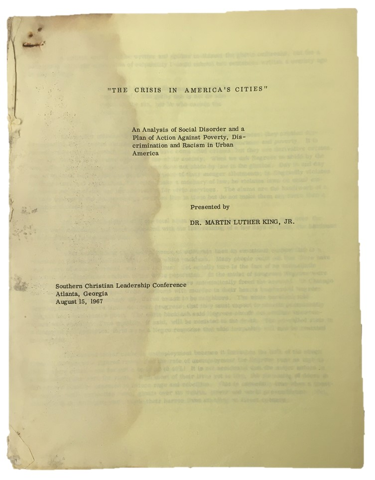 "An Unknown Early Draft of Martin Luther King's ""Crisis in America's Cities"". Martin Luther King."