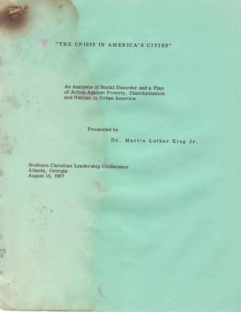 """Very Rare First Edition Mimeograph of Martin Luther King's """"Crisis in America's Cities"""". Martin Luther King."""
