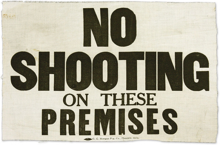 """""""No Shooting on These Premises"""" Wild West, Americana."""