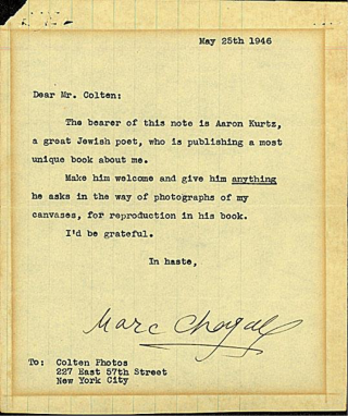 Chagall Typed Letter Signed. Marc Chagall