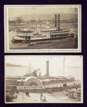CDV of 1860s ship on the Mississippi River. 19th C. Photo, Civil War