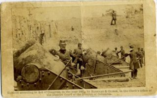 """Brady Gallery"" Civil War Photograph of Officers and 20,000 Pound Mortar Cannons. Civil War Brady..."