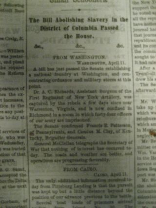 Abolition Bill Outlawing Slavery Passed Original Newspaper. Newspaper Abolition of Slavery