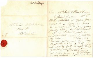 Autograph Letter Signed C. Babbage with Mathematical Equation in Seal. Charles Babbage