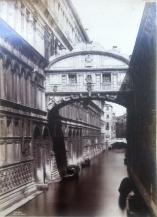 Large 19th Century Photograph of a Venice Canal under the Bridge of Sighs. 19c. Photo, VENICE
