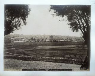 Large 19th Century Photograph of the Mount of Olives, Jerusalem. JERUSALEM PHOTO