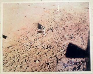 Large Poster-Size Photograph of the Apollo 11 planted American Flag on the Moon--Signed by Buzz...