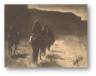 The Vanishing Race - Vintage Platinum Print, Signed by Curtis