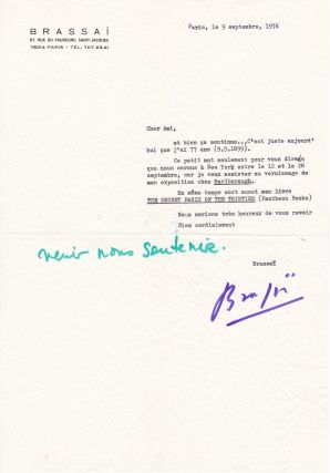 "Letter from Brassai about his new photography book ""The Secret Paris of the Thirties"" and his..."