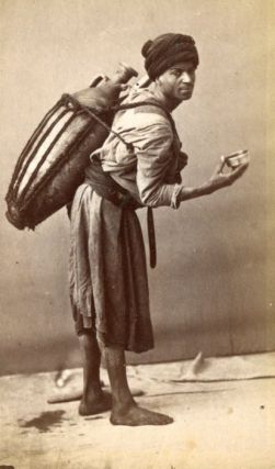 Original CDV Photo of an Arab Water Seller, Printed Circa 1890. Photograph Arab Water Seller