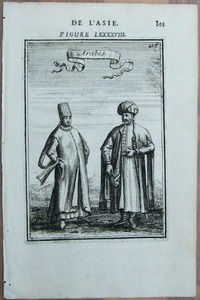 Original Engraving of Arab Costumes, Published in 1748. Arab Costumes, Persian