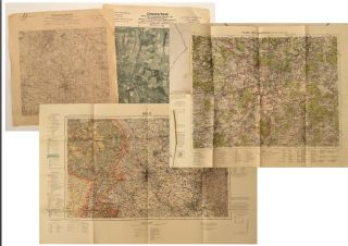 Collection of 10 German-made WWII-era maps of cities and Factories. MAPS WWII, GERMAN