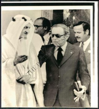 Arab Summit Conference Photograph of Sadat and the King of Saudi Arabia circa 1970's. Sadat Arab...
