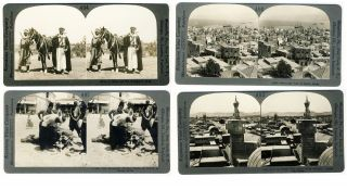 4 Antique stereoviews of SYRIA, DAMASCUS, BEIRUT 1900'. Syria Arab Stereoview