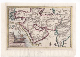 1705 Original Map of Turkey, Arabia, Persia, and India by Pieter Van Der AA, Illustrated with a...