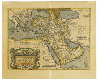 A.Ortelius Map of Holy Land, Arabia and Turkey and Greece Circa 1609. Map Ortelius