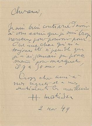 Henri Matisse's Handwritten Response to a Request to Pose for a Painting. Henri Matisse