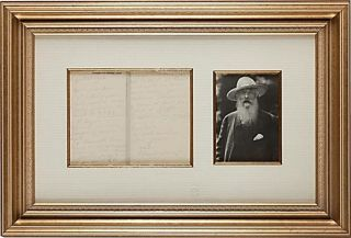 Monet Autograph Letter Signed to French novelist, Lucien Descaves. Claude Monet
