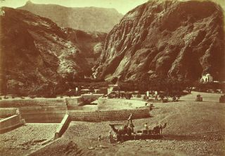 Set of 2 Large Photos Depicting Desert Life in Aden in the Arabian Peninsula circa 1870. Arabian...