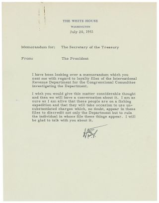 "Important Archive of President Truman Letters Combatting McCarthy's Red Scare: ""I am a sure as I..."
