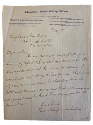 "Woman Suffrage Leader Carrie Chapman Catt Signed Letter Assigning Female Delegates so ""A Woman's..."