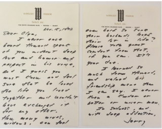 Rare J.D. Salinger Autograph Letter Signed On Love, Loss, and the Rarity of Being Sure of Another Person