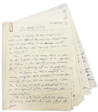 "Edward Teller Handwritten Manuscript Signed titled ""The Deadly Secrets"" Edward Teller"