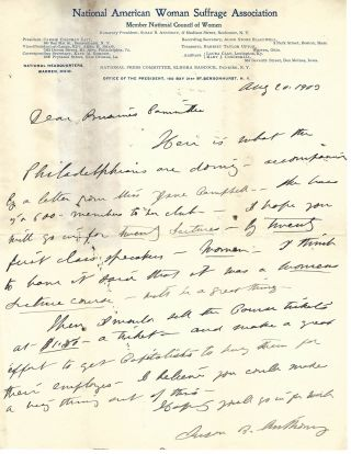 "Susan B. Anthony Writes About a ""Women's Lecture Course"" By Women, to Promote Female..."