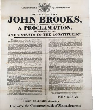 1821 Massachusetts Constitutional Amendments Broadside Announces Universal Manhood Suffrage and...