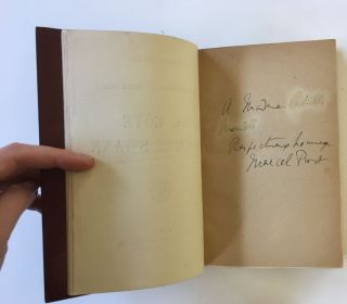 First Edition, First Issue, First Volume of Proust's Monumental In Search of Lost Time, Signed and Inscribed by Proust