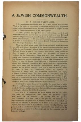 Important Documents Chronicle Zionist Movement from 1918 Balfour Declaration to the creation a...