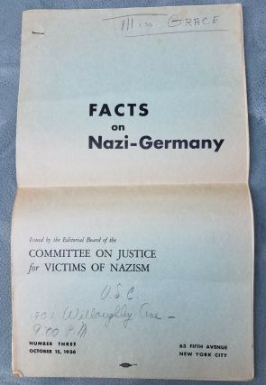 "Very rare 1936 document titled ""Facts on Nazi Germany"" by the Committee on Justice for Victims of..."