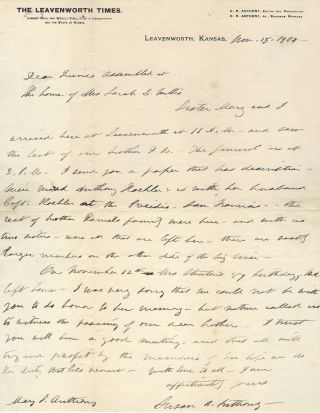 Susan B. Anthony Autograph Letter signed Memorializes Elizabeth Cady Stanton by Offering this...