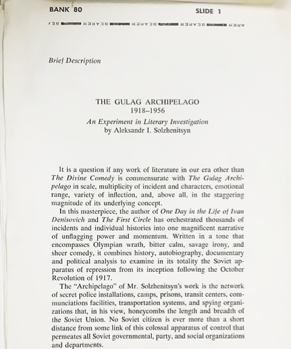 Solzhenitsyn's Uncorrected Proof of The Gulag Archipelago, the Book that Helped Bring Down...
