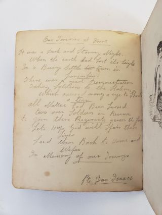 WORLD WAR I Scrapbook with Over 100 handwritten Original Poems, Drawings, and Paintings
