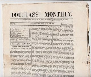 Frederick Douglass's Newspaper Reports on The Outbreak of the Civil War That will Free all US...