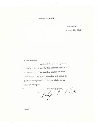 "Pearl Buck Typed Letter Signed on ""Something Which I should Like to Say to the Colored People of..."