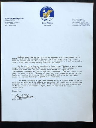 Buzz Aldrin Typed Letter Signed on His Upcoming Novel, 1996. Buzz Aldrin