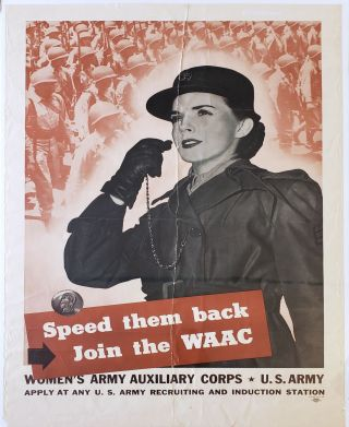 Women's Army Auxiliary Corps in WWII Recruitment Poster -1943. Women Military, WWII