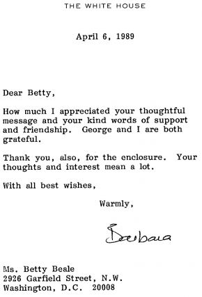 Barbara Bush Typed Letter Signed. Barbara Bush