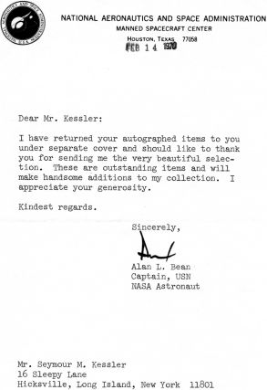 Astonaut Alan Bean Typed Letter SIgned Typed Letter Signed. Alan Bean