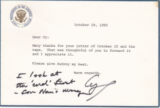 "George Bush Autograph Letter ""I Look at the End First"" George Bush"