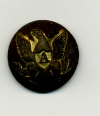 "Dug Civil War Eagle ""A"" Artillery Button With Gilt. Artillery Button Civil War"