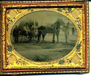 Early Photographic Image of Horses Ambrotype of a Horse & Carriage Circa 1850's. Photograph...